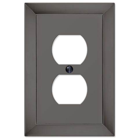 Studio Midnight Chrome Cast - 1 Duplex Outlet Wallplate - Wallplate Warehouse