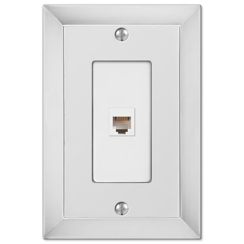 Studio Polished Chrome Cast - 1 Phone Jack Wallplate - Wallplate Warehouse