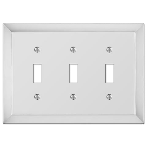 Studio Polished Chrome Cast - 3 Toggle Wallplate - Wallplate Warehouse