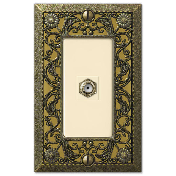 Filigree Antique Brass Cast - 1 Cable Jack Wallplate - Wallplate Warehouse