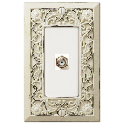 Filigree Antique White Cast - 1 Cable Jack Wallplate - Wallplate Warehouse