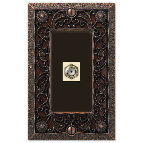 Filigree Aged Bronze Cast - 1 Cable Jack Wallplate - Wallplate Warehouse