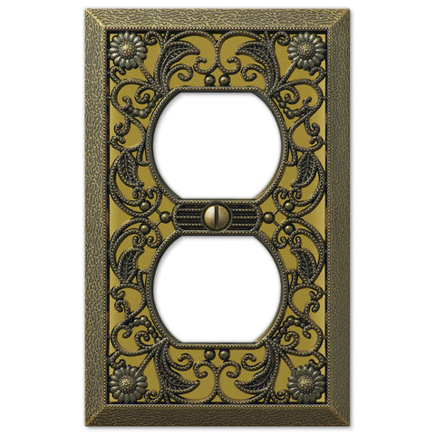 Filigree Antique Brass Cast - 1 Duplex Outlet Wallplate - Wallplate Warehouse