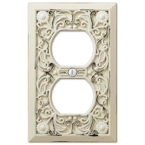 Filigree Antique White Cast - 1 Duplex Outlet Wallplate - Wallplate Warehouse