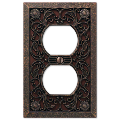 Filigree Aged Bronze Cast - 1 Duplex Outlet Wallplate - Wallplate Warehouse