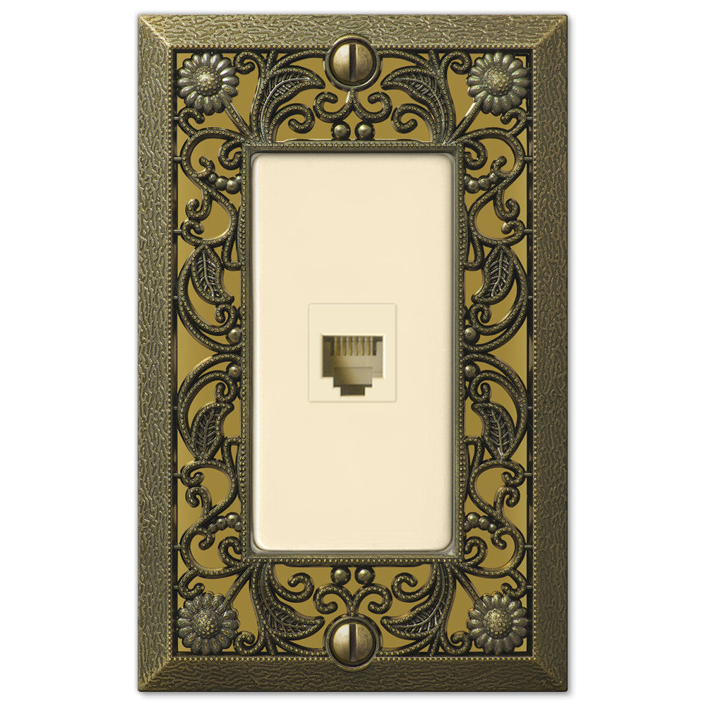 Filigree Antique Brass Cast - 1 Phone Jack Wallplate - Wallplate Warehouse