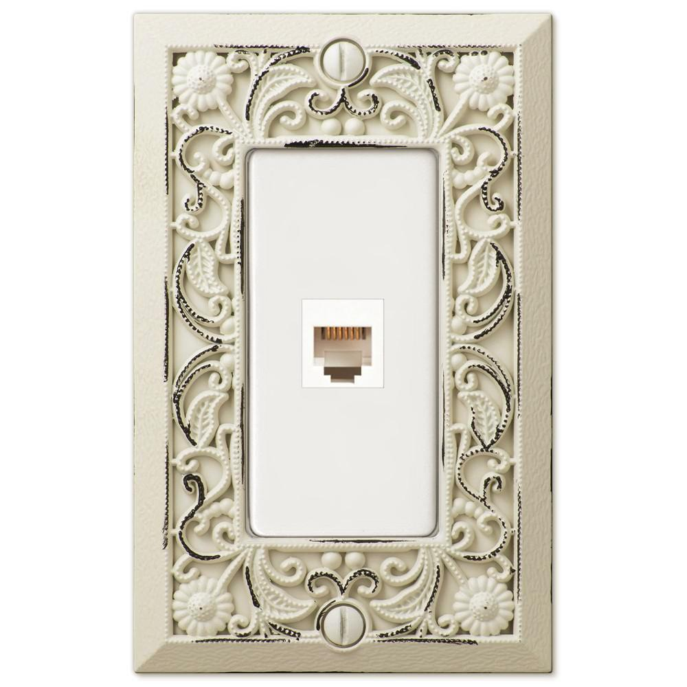 Filigree Antique White Cast - 1 Phone Jack Wallplate - Wallplate Warehouse