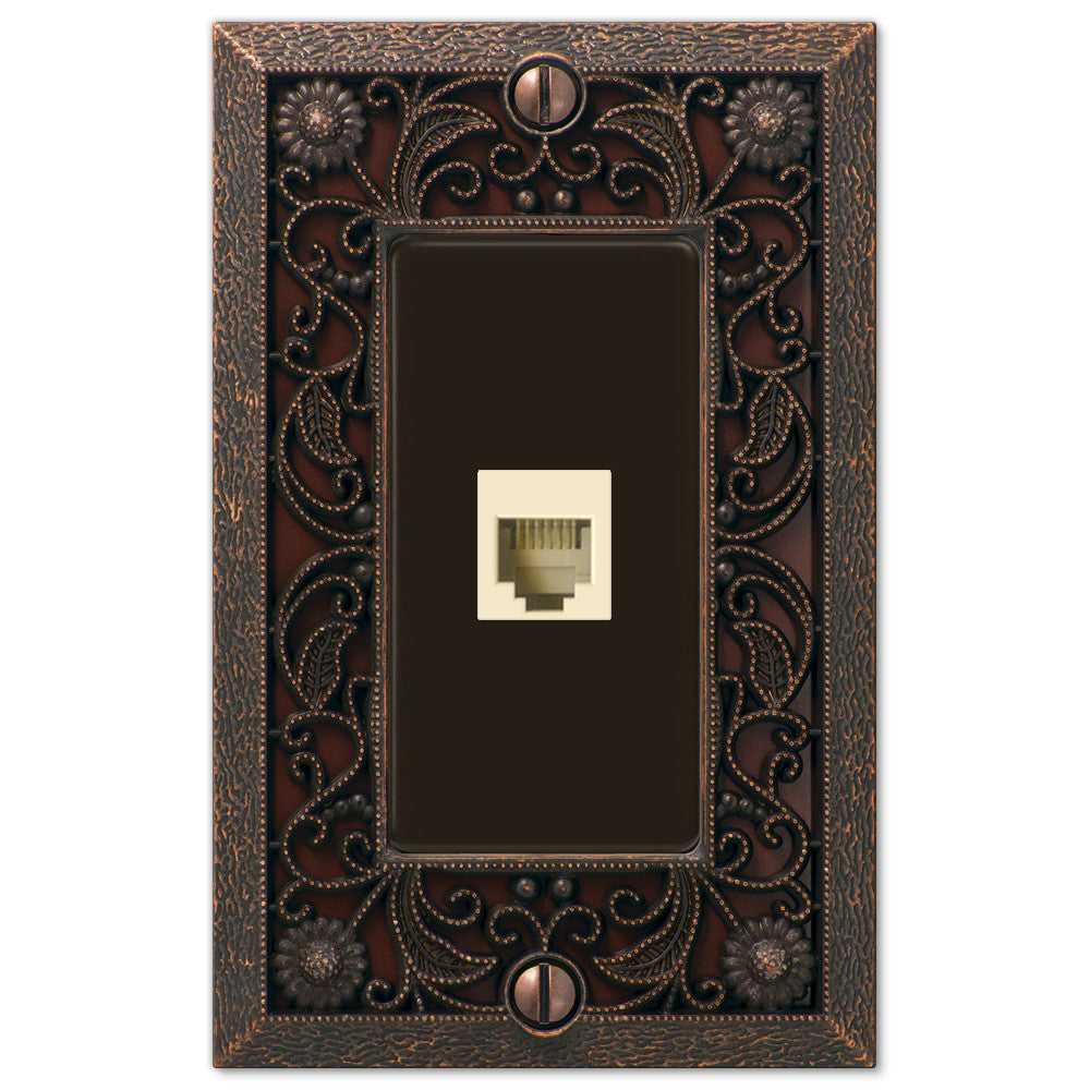 Filigree Aged Bronze Cast - 1 Phone Jack Wallplate - Wallplate Warehouse