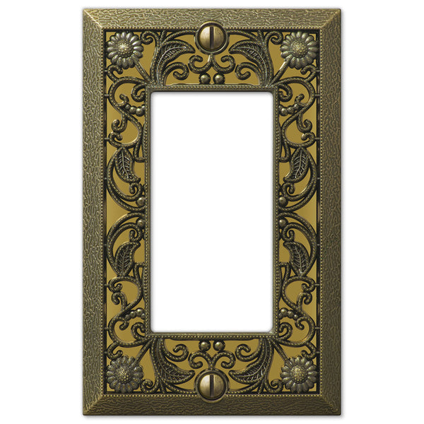Filigree Antique Brass Cast - 1 Rocker Wallplate - Wallplate Warehouse