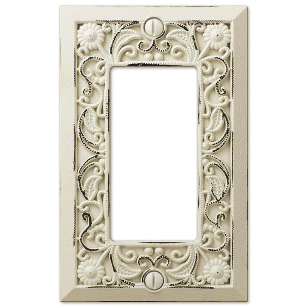 Filigree Antique White Cast - 1 Rocker Wallplate - Wallplate Warehouse
