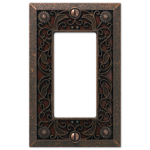 Filigree Aged Bronze Cast - 1 Rocker Wallplate - Wallplate Warehouse
