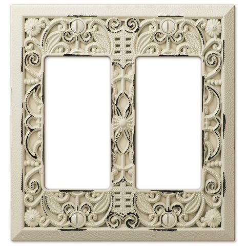 Filigree Antique White Cast - 2 Rocker Wallplate - Wallplate Warehouse