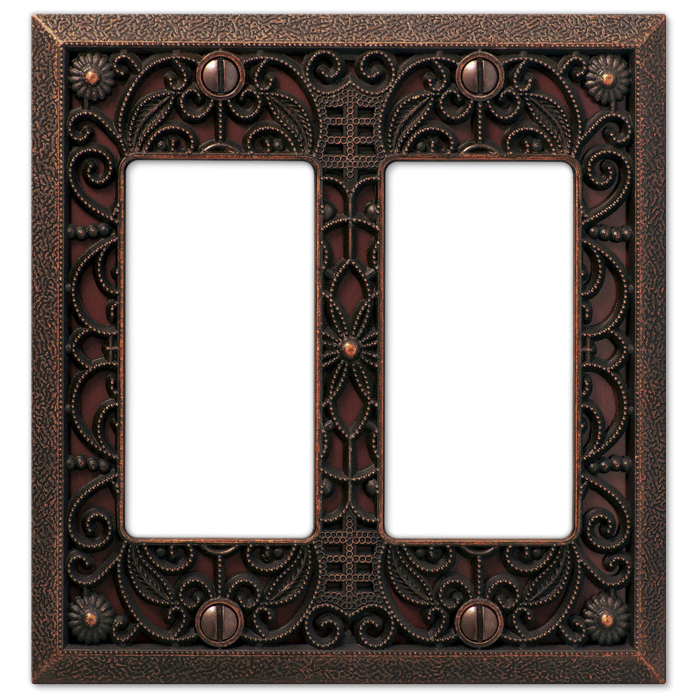 Filigree Aged Bronze Cast - 2 Rocker Wallplate - Wallplate Warehouse