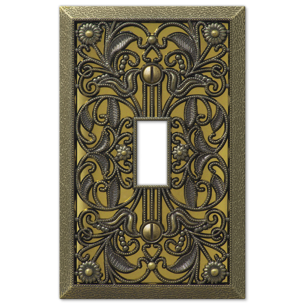 Filigree Antique Brass Cast - 1 Toggle Wallplate - Wallplate Warehouse