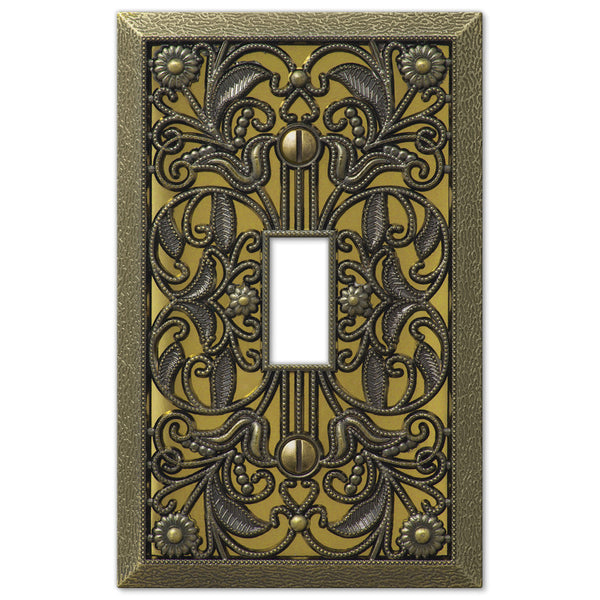 Filigree Antique Brass Cast 1 Toggle Wallplate