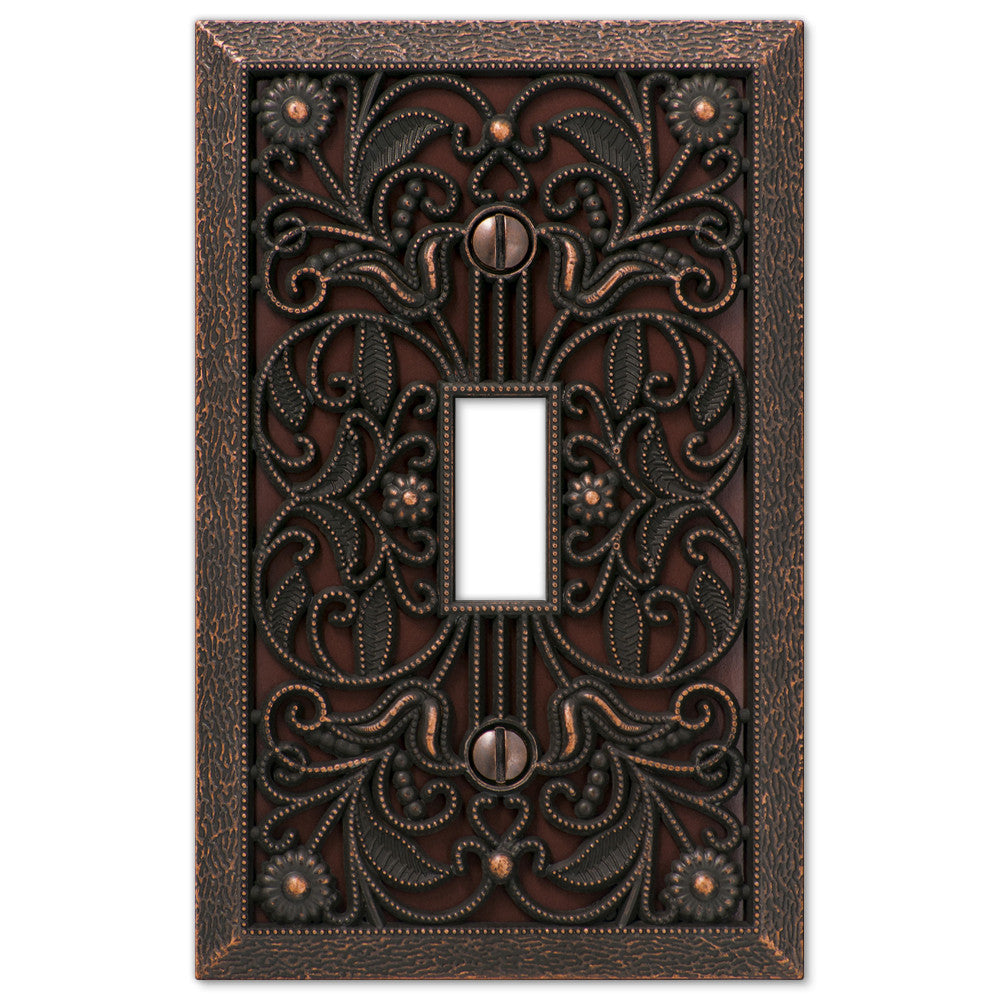 Filigree Aged Bronze Cast - 1 Toggle Wallplate - Wallplate Warehouse