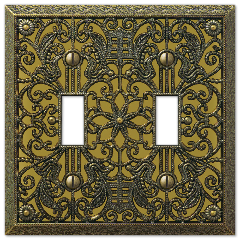 Filigree Antique Brass Cast - 2 Toggle Wallplate - Wallplate Warehouse