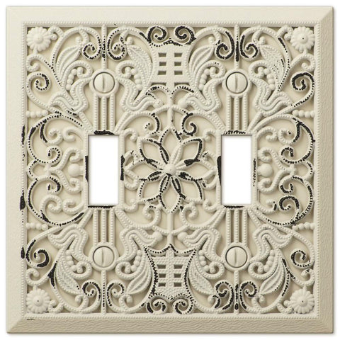 Filigree Antique White Cast - 2 Toggle Wallplate - Wallplate Warehouse
