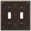 Filigree Aged Bronze Cast - 2 Toggle Wallplate - Wallplate Warehouse