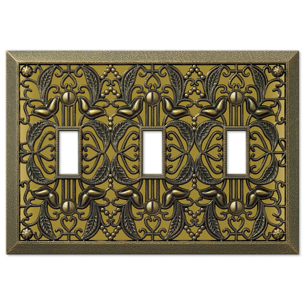 Filigree Antique Brass Cast - 3 Toggle Wallplate - Wallplate Warehouse