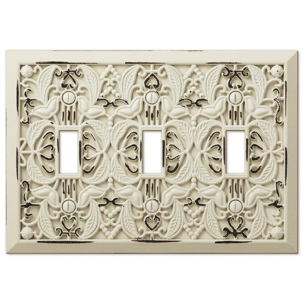 Filigree Antique White Cast - 3 Toggle Wallplate - Wallplate Warehouse