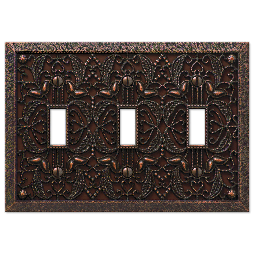 Filigree Aged Bronze Cast - 3 Toggle Wallplate - Wallplate Warehouse