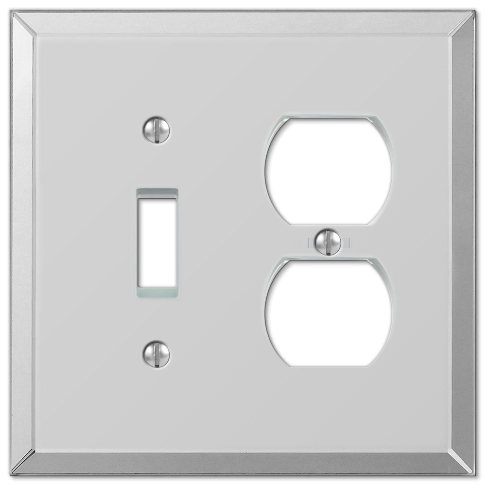 Mirror Clear Acrylic - 1 Toggle / 1 Duplex Outlet Wallplate - Wallplate Warehouse