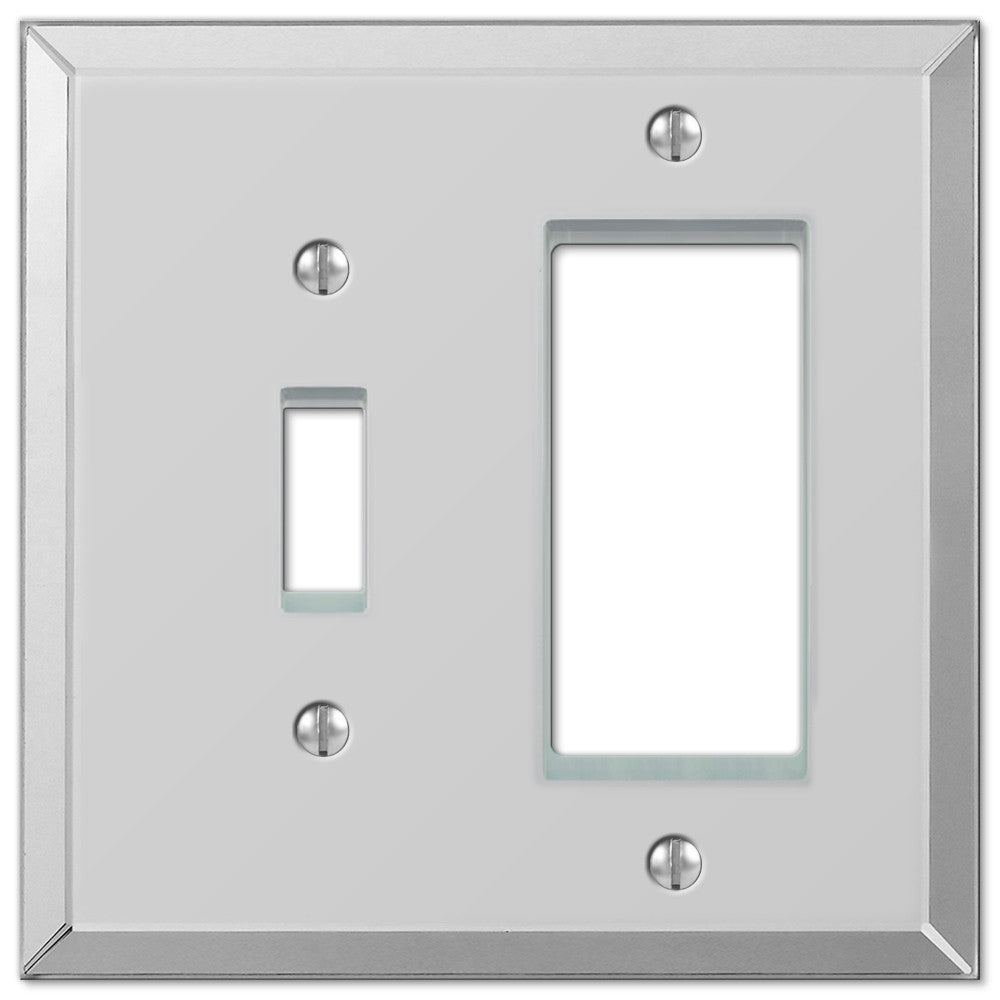 Mirror Clear Acrylic - 1 Toggle / 1 Rocker Wallplate - Wallplate Warehouse