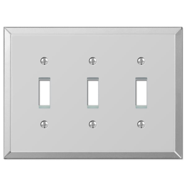 Mirror Clear Acrylic - 3 Toggle Wallplate - Wallplate Warehouse