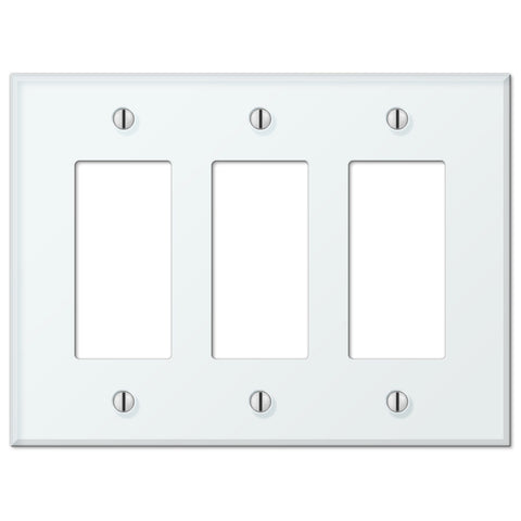 Glass Tile Mint Acrylic - 3 Rocker Wallplate - Wallplate Warehouse