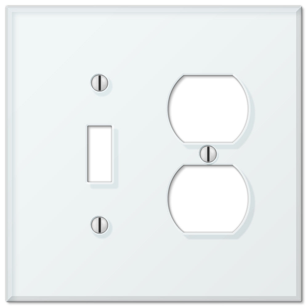 Glass Tile Mint Acrylic - 1 Toggle / 1 Duplex Outlet Wallplate - Wallplate Warehouse