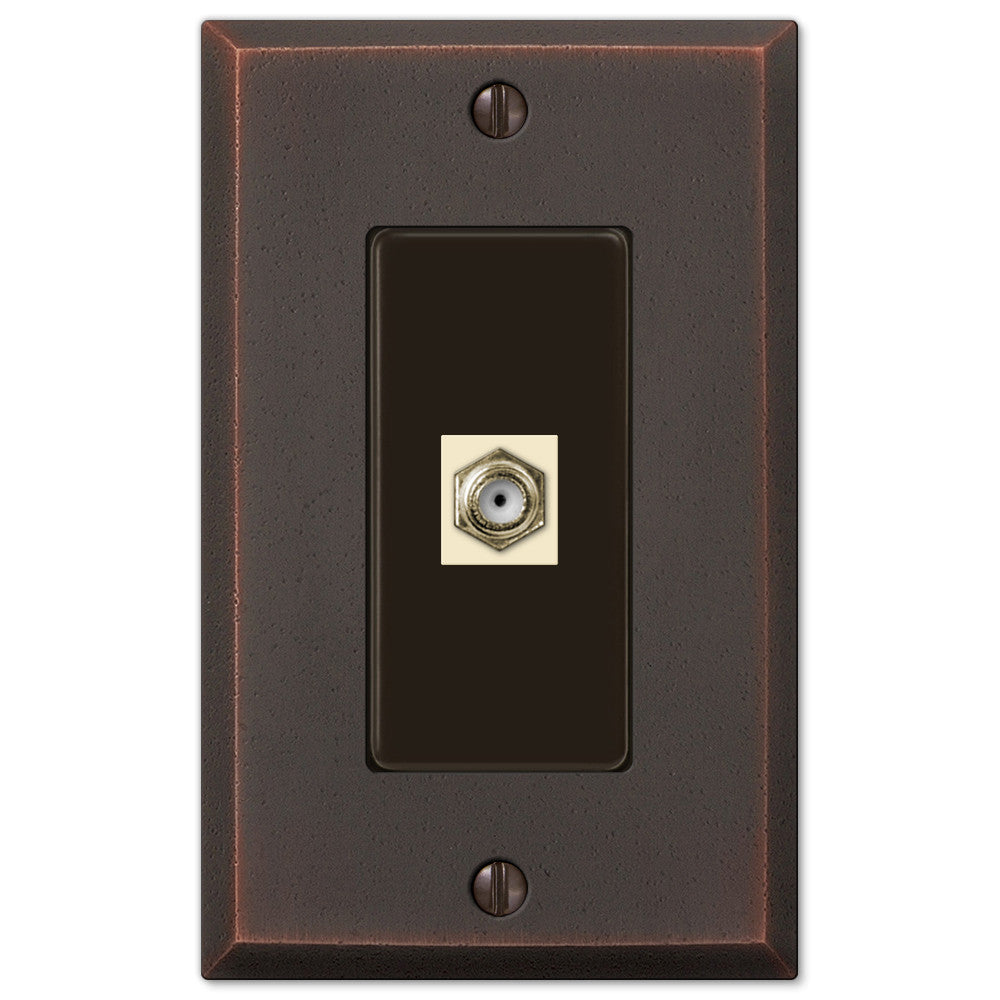 Manhattan Aged Bronze Cast - 1 Cable Jack Wallplate - Wallplate Warehouse