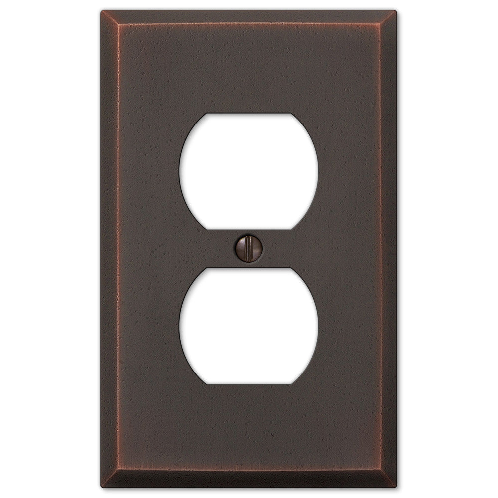 Manhattan Aged Bronze Cast - 1 Duplex Outlet Wallplate - Wallplate Warehouse