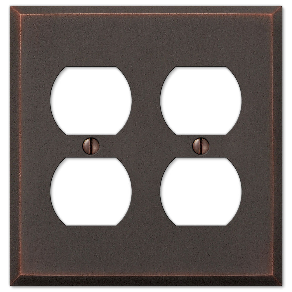 Manhattan Aged Bronze Cast - 2 Duplex Outlet Wallplate - Wallplate Warehouse