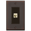 Manhattan Aged Bronze Cast - 1 Phone Jack Wallplate - Wallplate Warehouse