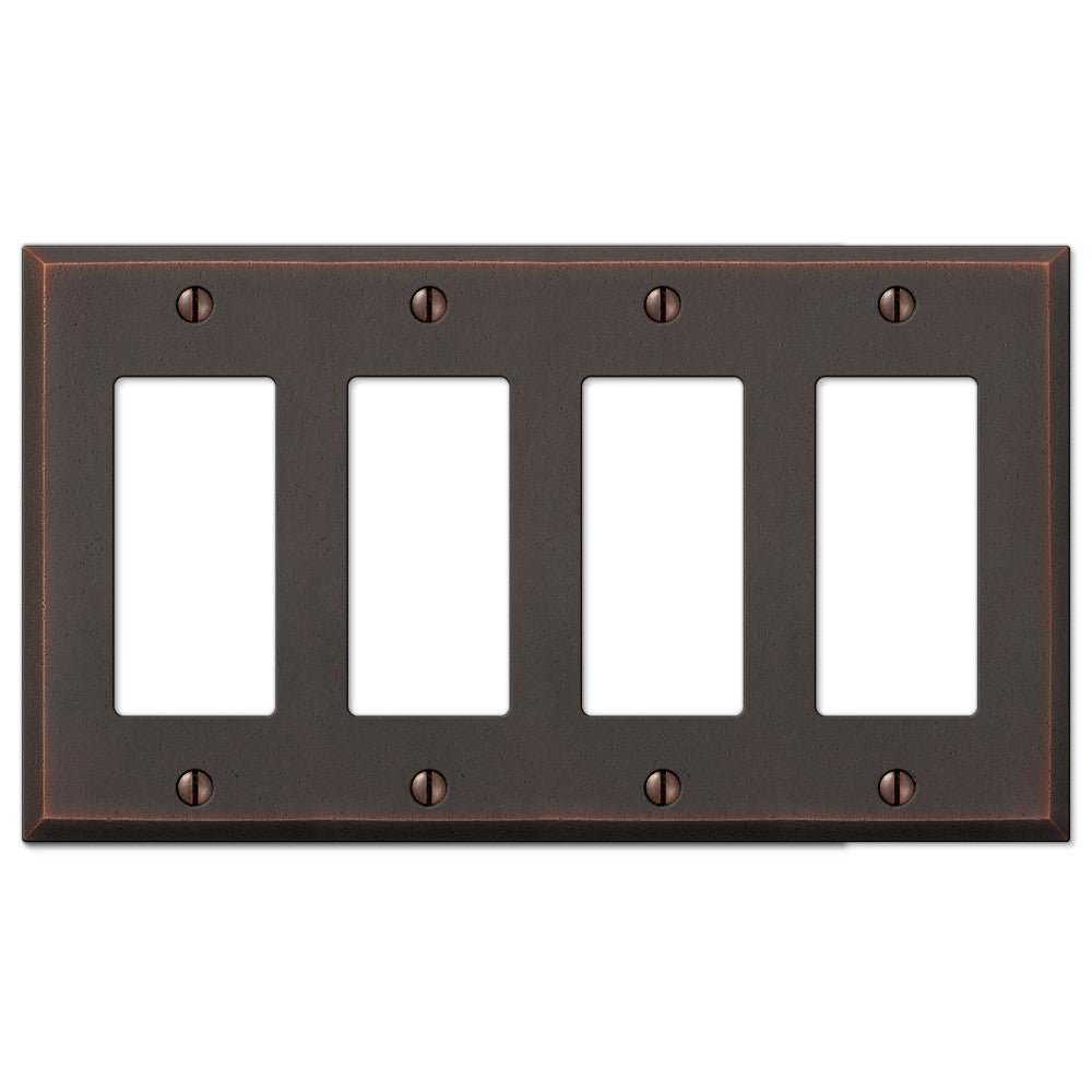 Manhattan Aged Bronze Cast - 4 Rocker Wallplate - Wallplate Warehouse
