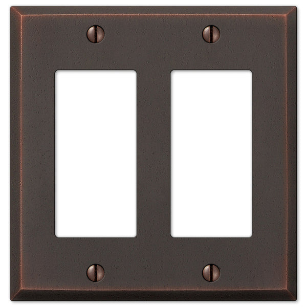 Manhattan Aged Bronze Cast - 2 Rocker Wallplate - Wallplate Warehouse