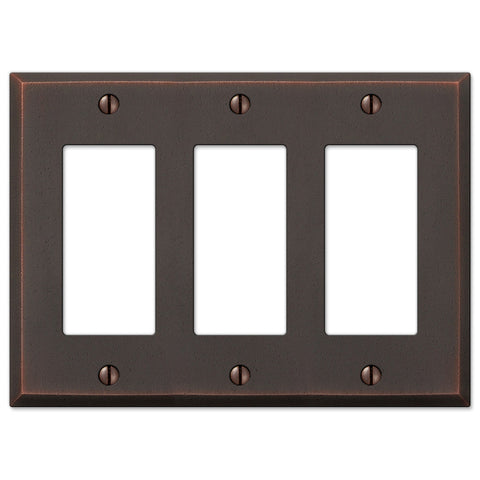 Manhattan Aged Bronze Cast - 3 Rocker Wallplate - Wallplate Warehouse