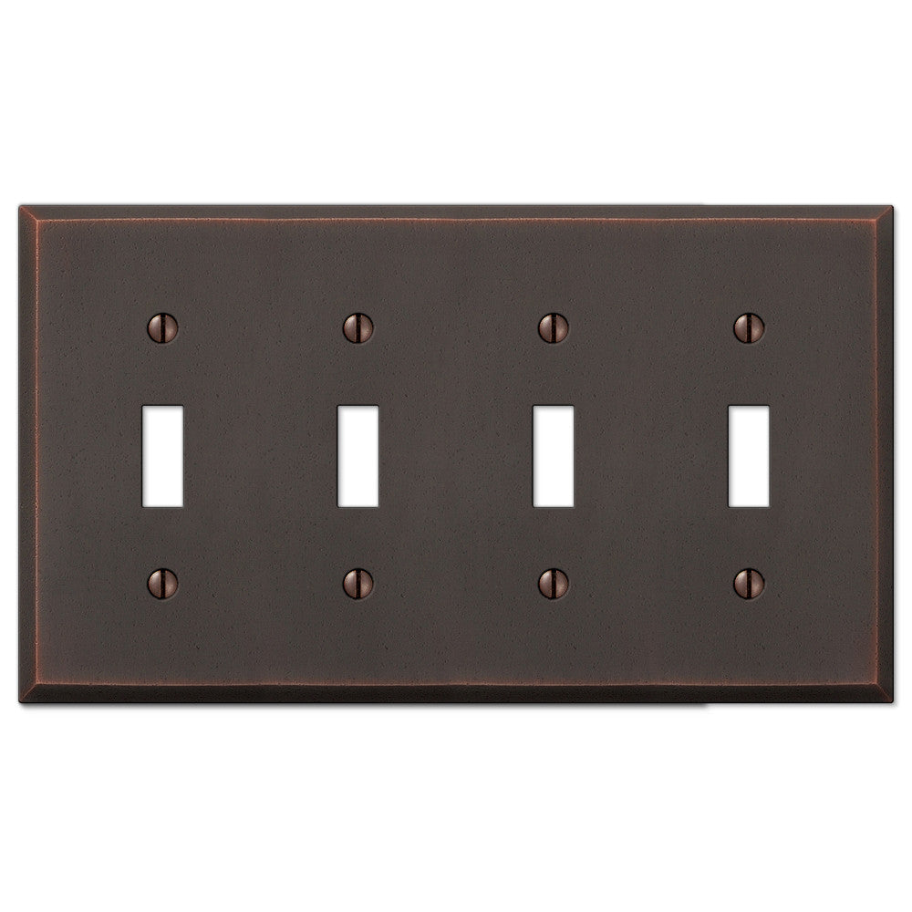 Manhattan Aged Bronze Cast - 4 Toggle Wallplate - Wallplate Warehouse