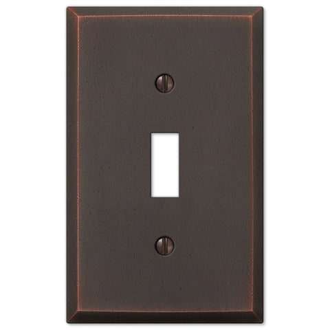 Manhattan Aged Bronze Cast - 1 Toggle Wallplate - Wallplate Warehouse