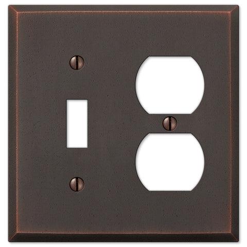 Manhattan Aged Bronze Cast - 1 Toggle / 1 Duplex Outlet Wallplate - Wallplate Warehouse