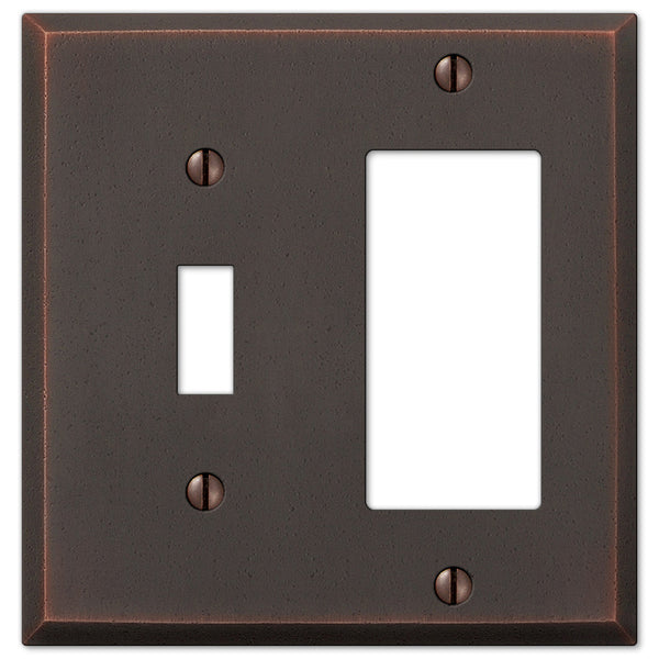 Manhattan Aged Bronze Cast - 1 Toggle / 1 Rocker Wallplate - Wallplate Warehouse