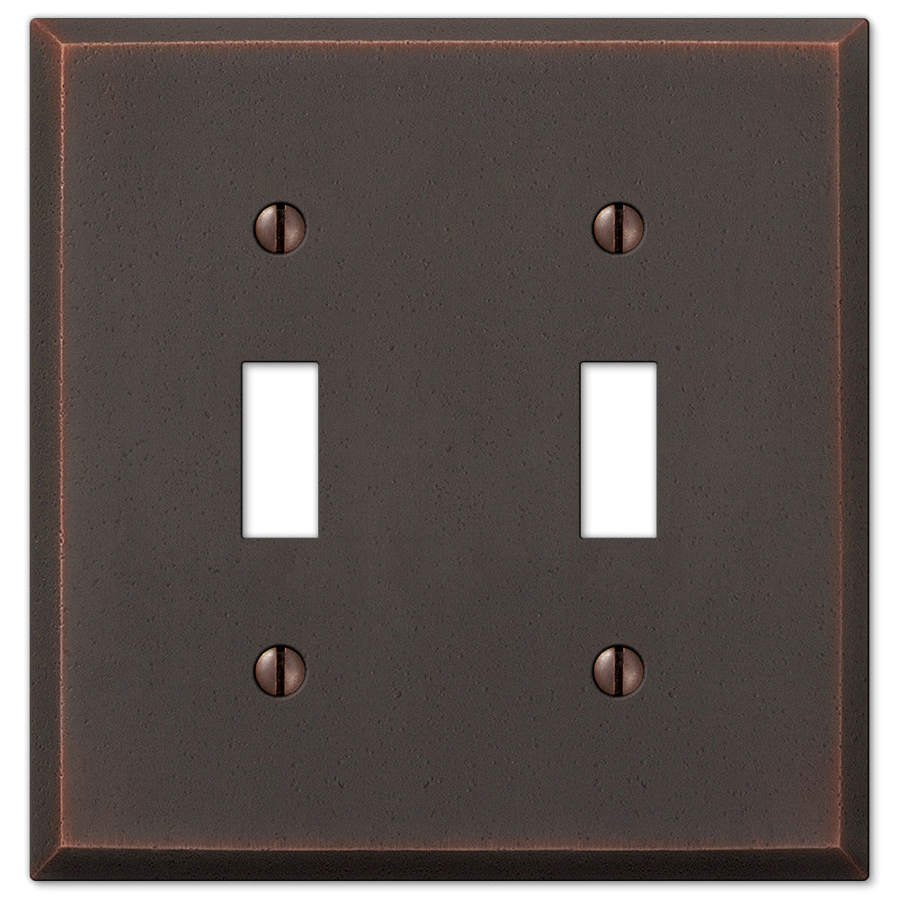 Manhattan Aged Bronze Cast - 2 Toggle Wallplate - Wallplate Warehouse