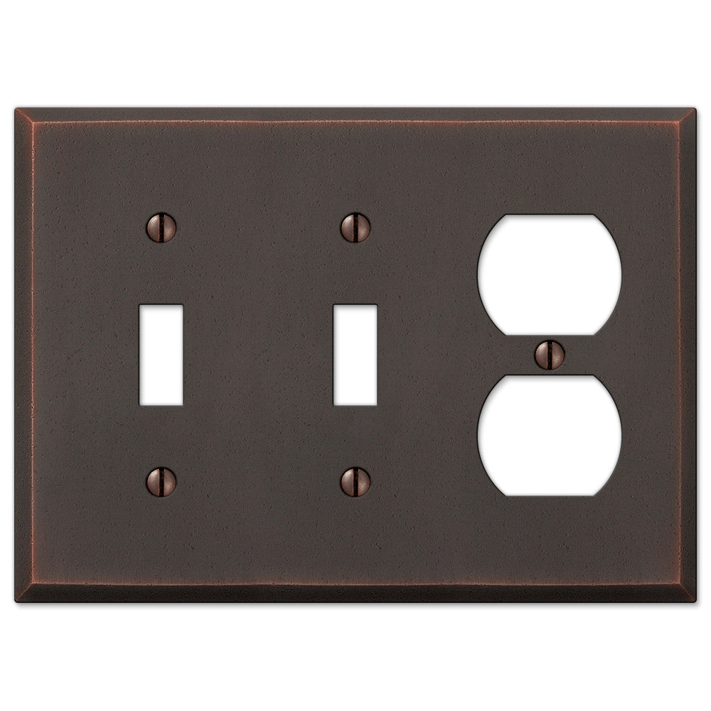 Manhattan Aged Bronze Cast - 2 Toggle / 1 Duplex Outlet Wallplate - Wallplate Warehouse