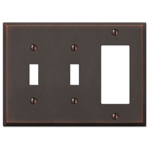 Manhattan Aged Bronze Cast - 2 Toggle / 1 Rocker Wallplate - Wallplate Warehouse