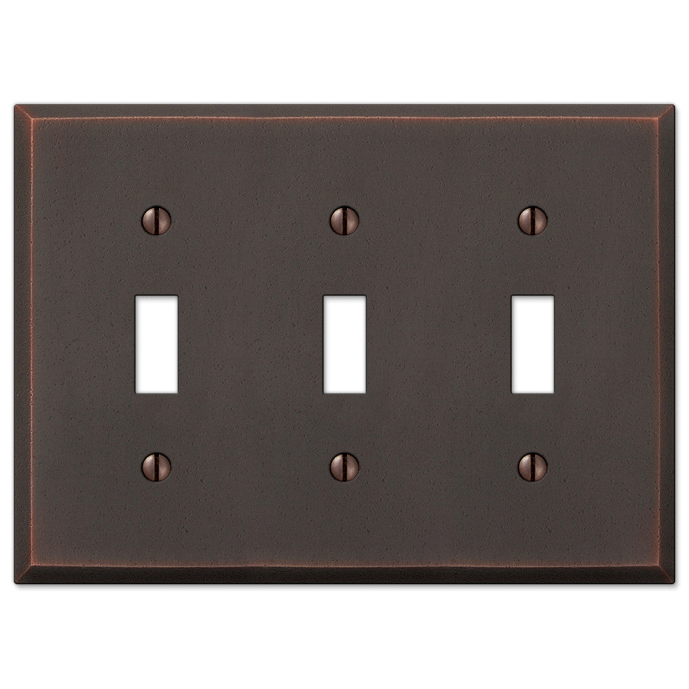 Manhattan Aged Bronze Cast - 3 Toggle Wallplate - Wallplate Warehouse