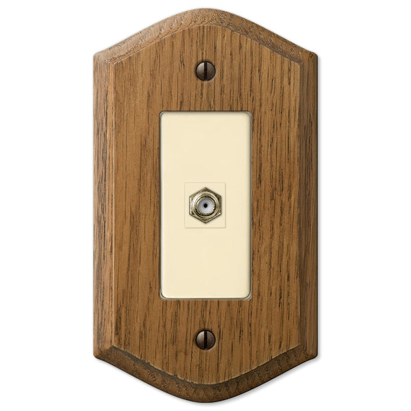 Country Medium Oak Wood - 1 Cable Jack Wallplate - Wallplate Warehouse