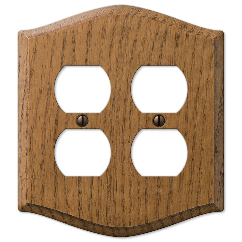 Country Medium Oak Wood - 2 Duplex Outlet Wallplate - Wallplate Warehouse