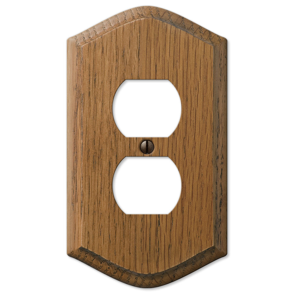 Country Medium Oak Wood - 1 Duplex Outlet Wallplate - Wallplate Warehouse