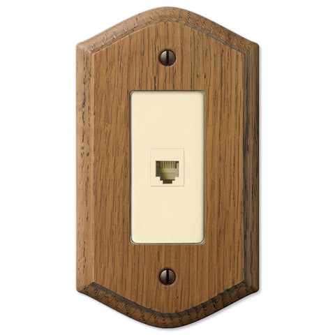 Country Medium Oak Wood - 1 Phone Jack Wallplate - Wallplate Warehouse